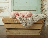 Furry, Shaggy Texture Baby Mini Blanket Photo Prop. Thick 'Wholesome' PuffPelt Rug in Taupe, Beige Neutrals