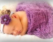 Cocoon Wrap. Plum Purple Violet Baby Swaddler Photo Prop - Wrap Around Newborn