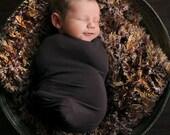 Brown Photo Props Baby Blanket. 2x2 Dark Chocolate Furry Newborn Photography Prop. Thick 'Mr. Bear' Rug