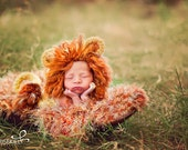 Photo Props Lion Baby Blanket. Shaggy Furry Texture. 2x2 Thick Knit 'Savannah' Rug. Yellow Orange Brown