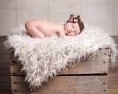 Baby Photo Props Blanket. 2x2 Knit, Furry Cream Shaggy Texture 'Wholesome' PuffPelt Rug Children