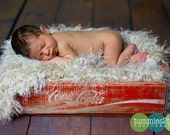 Hand Knit Baby Blanket Photography Prop. Ivory Cream Fur Look Newborn Prop. 'Wholesome' Rug in Neutral