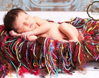 FUN Fringe Baby Blanket Photography Prop, 'Chocolate Jellies' Colors for Newborn Infant Photo Portraits