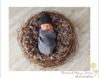 Photography Prop Nest Blanket 2x2 Realistic Feathery 'Jungle' Rug Looks Real for Baby Children