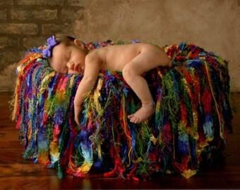 Photography Prop Baby Blanket Fringe Hammock Photo Prop, Rainbow Multicolor 'ArcoIris' CricketsCreations
