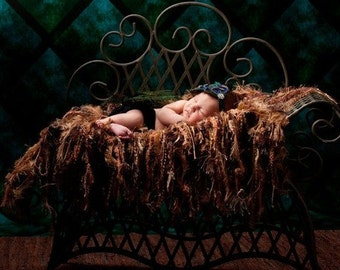 Brown Fringe Photo Prop Blanket Baby Hammock 'Chocolate' Brown (Image by Sandy Puc'). Newborn Infant Photography Prop