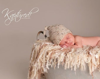 Knit Baby Blanket with Fringe Photography Props Newborn