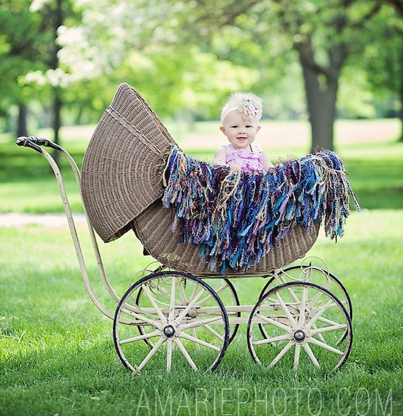 Fringe Photography Props Blanket and Baby HAMMOCK 'Peacock' Children