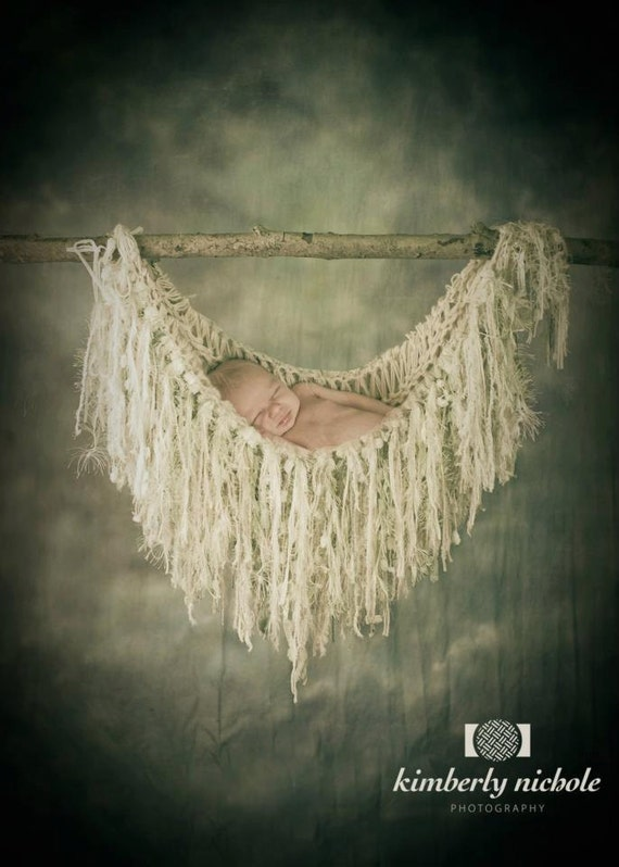 Newborn Photography Props Fringe Hammock and Baby Blanket. Ivory, Off White, Cream, Pale Green, Light Green 'Wisteria'