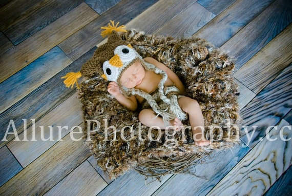 Baby Owl Blanket Photo Props 2x2 Realistic Faux Feathers, Mock Bird Nest Looks Real Feather Nest