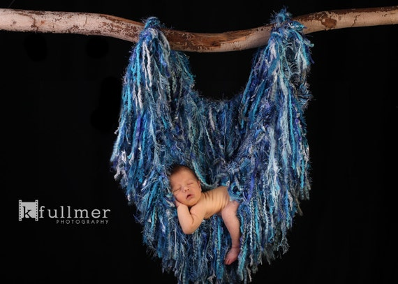 Fringe Photography Prop Baby Hanger Tree Branch Nest Hammock, Blue 'Cascade' or Choose Colors