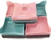Price Drop! Vintage California Pottery Pink and Aqua Revolving Chip N Dip