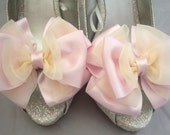 Pair Baby Pink And Light Cream Satin Organza Bow Shoe Clips