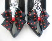 Red and Black Polka Dot Dorothy Bow Shoe Clips For Shoes Party Wedding Pinup Burlesque By Seriously Sassy