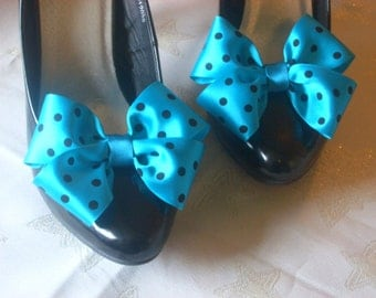 Pair Teal and Black Satin Polka Dot Dorothy Bow Shoe Clips Pinup Burlesque By Seriously Sassy