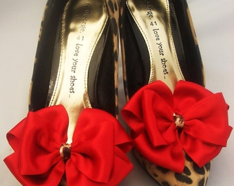Pair Red and Leopard Skin Satin Bows for Shoes Pinup Burlesque Kitsch ShOe CliPs By Seriously Sassy