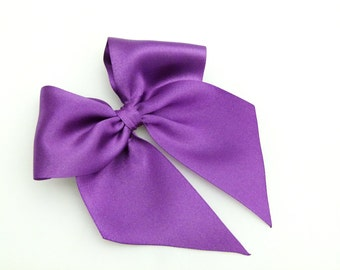 "Purple Hair Bow 5"" Girls Large Bow Satin Elizabeth Bow By Seriously Sassyx"
