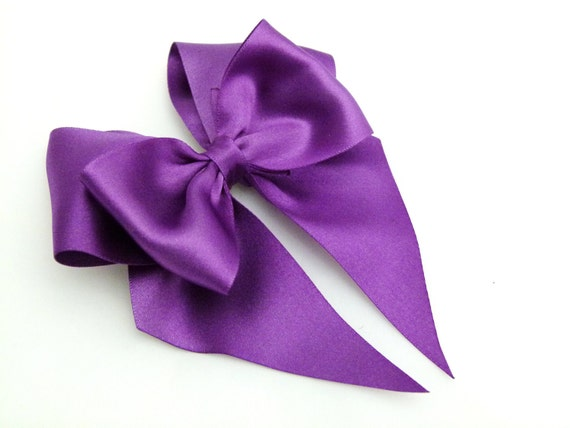Purple Hair Bow In Satin Large Bow For Girls to  Adults Pinup Burlesque Cupid Bow By Seriously Sassyx