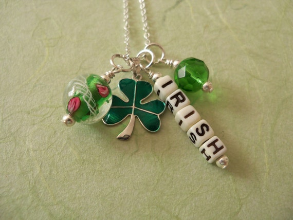 Irish Charm Necklace, Shamrock, Sterling Beau Charm, Irish Jewelry, St. Patrick's Day