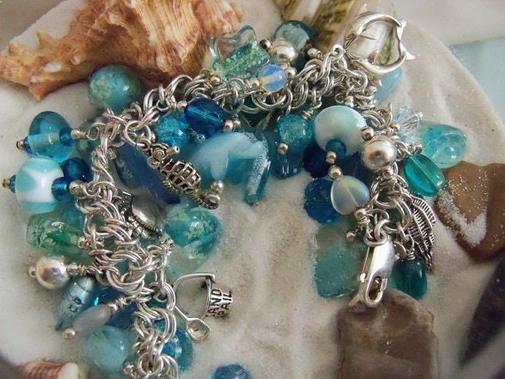 Beach Charm Bracelet, Sterling Silver, Beach Charms, Glow in the Dark, Moonstone, Ocean