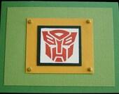 Transformers Autobot handmade blank card