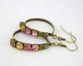 Spring colors crystal brass hoop earrings