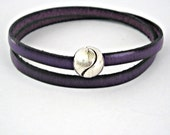 Purple double wrapped leather bracelet with magnetic tennis ball clasp