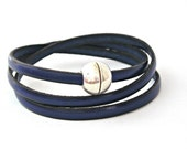Navy blue triple wrapped leather bracelet with ball magnetic clasp