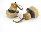 Lampwork beads toffee coffee brown square earrings