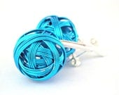 Ball mess in bright electric blue color sterling silver earrings