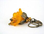 Orange bell flowers brass vintage style earrings