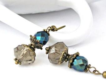 Light smoke brown and blue iris czech beads vintage style brass earrings