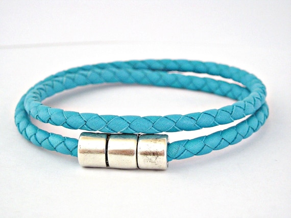 Double wrapped turquoise braided leather bracelet with magnetic clasp