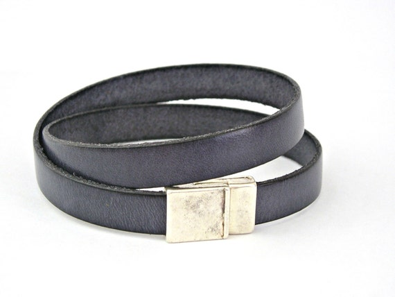 Charcoal grey leather bracelet double wrapped with magnetic clasp