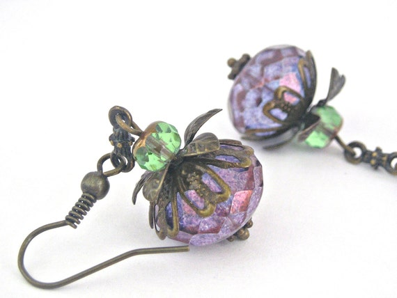 Vintage style luster amethyst and cedar green picasso brass earrings
