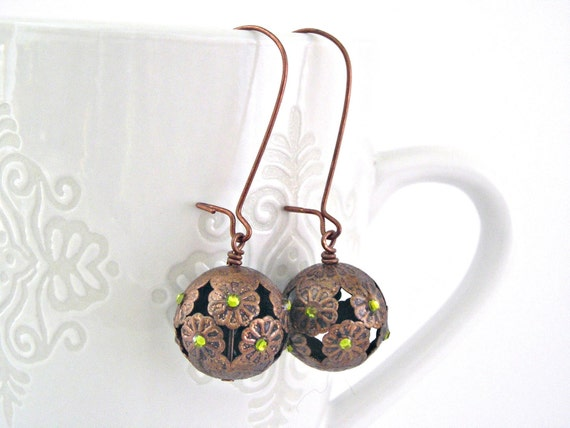 Tiny flowers earrings copper findings and olive green rhinestones