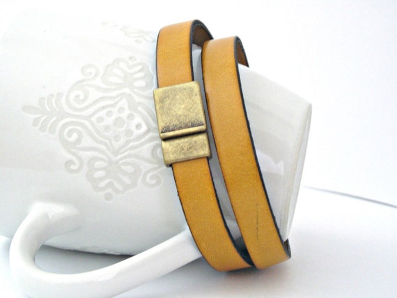 Mustard yellow color leather bracelet double wrapped with magnetic clasp brass color