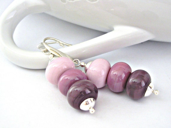 Dusty pink to orchid mauve lampwork beads sterling silver earrings