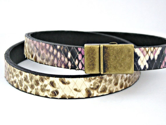 False snake skin in black leather double wrapped bracelet with magnetic clasp in color of your choice.