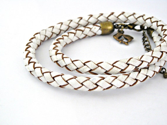 Double wrap white and brown braided leather bracelet with brass lobster clasp