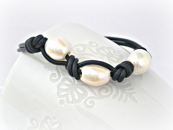 Reserved for Mia Ramsdem- Freshwater pearls navy blue leather bracelet with sterling silver clasp