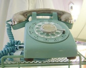 Vintage Turquoise - Aqua Rotary Dial Telephone with Silverplate Receiver Cover