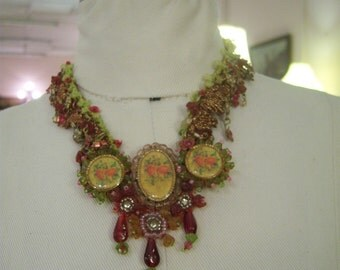 Vintage 1980's Mori Girl Ribbon and Bead Necklace with Flower Accents