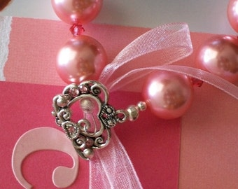 PINK RIBBON FOR THE CURE (3-Day22) PINK PEARL BRACELET -  team Etsy Project Embrace for American Cancer Society