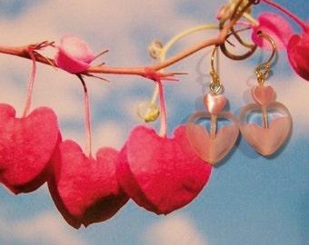Here's My Heart - Pink Heart Earrings