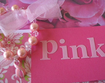 Pink Pearl Bracelet - Breast Cancer Awareness - for team Etsy Project Embrace  3Epe-05