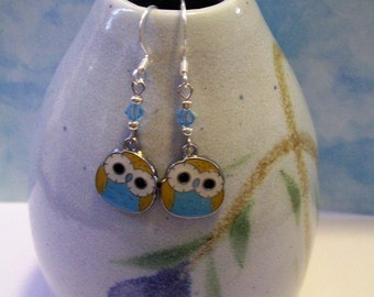 Blue Baby Owl Earrings - Silver dangle Charm with Light Blue Swarovski Crystals