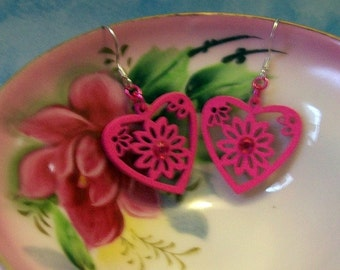 Hot Pink Heart Earrings - Laser Cut Wood with a Hot Pink Crystal Rhinestone