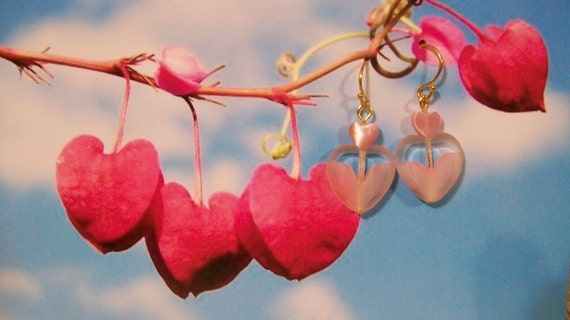 Here's My Heart - Pink Heart Earrings