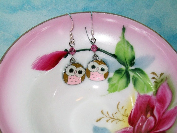 Pink Baby Owl Earrings - Silver dangle Charm with Rose Pink Swarovski Crystals